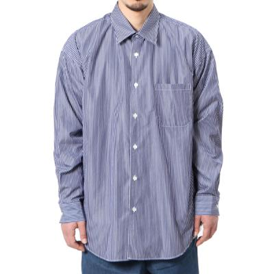 [GOLD] 120/2 BROAD STRIPE REGULAR COLLAR BIG SHIRT