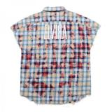 [ELVIRA] BLEACH CHECK SLEEVELESS SHIRT -RED-