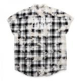 [ELVIRA] BLEACH CHECK SLEEVELESS SHIRT -BLACK-