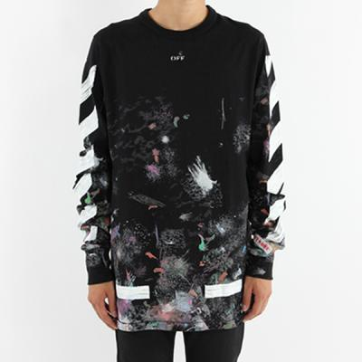 [OFF-WHITE] DIAG GALAXY BRUSHED TEE LS