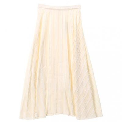 [GREED International]Striped Jacquard Flared Skirt