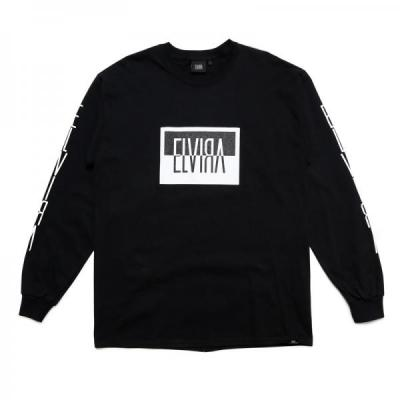 [ELVIRA] REVERSAL BOX L/S T-SHIRT BLACK
